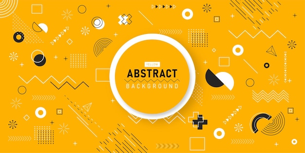 Geometrische achtergrond memphis ontwerp retro lijntekeningen lijnelementen voor web vintage advertentie commerciële spandoek poster in concept art