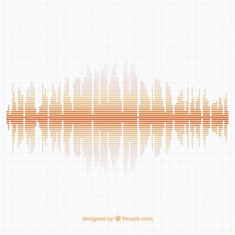 Geometrische achtergrond met gestippelde geluidsgolf