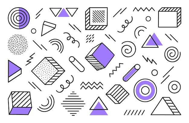 Geometrische achtergrond met verschillende hand getrokken abstracte vorm. universele trend halftoon geometrische vormen met violette elementen. moderne illustratie.