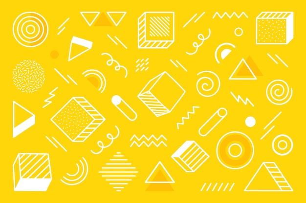 Geometrische achtergrond met verschillende hand getrokken abstracte vorm. universele trend halftoon geometrische vormen. moderne illustratie.