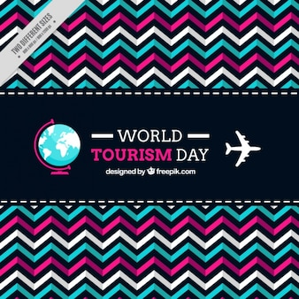 Geometrische achtergrond van de wereld toerisme dag te vieren