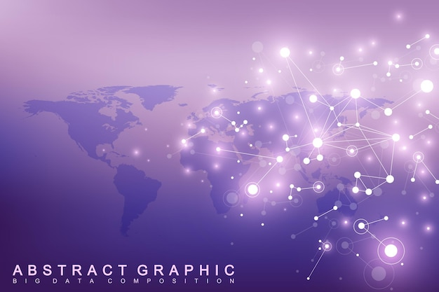 Geometrische achtergrondcommunicatie met wereldkaart
