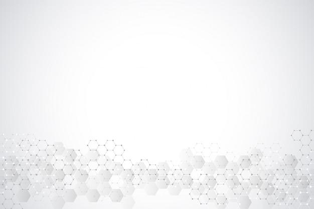 Geometrische achtergrondstructuur met moleculaire structuren en chemische technologie. abstracte achtergrond van zeshoekenpatroon.