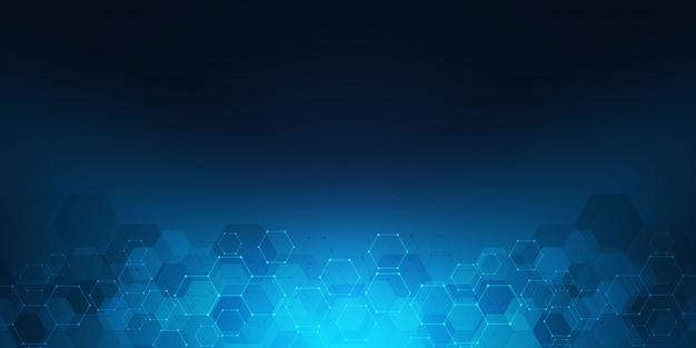 Geometrische achtergrondstructuur met moleculaire structuren en chemische technologie.