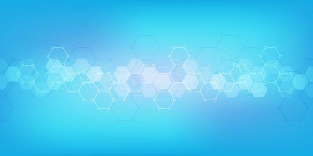 Geometrische achtergrondstructuur met moleculaire structuren en chemische technologie
