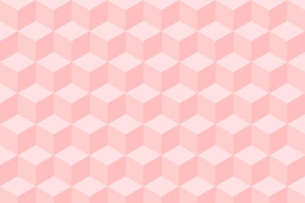 Geometrische achtergrondvector in roze kubuspatronen