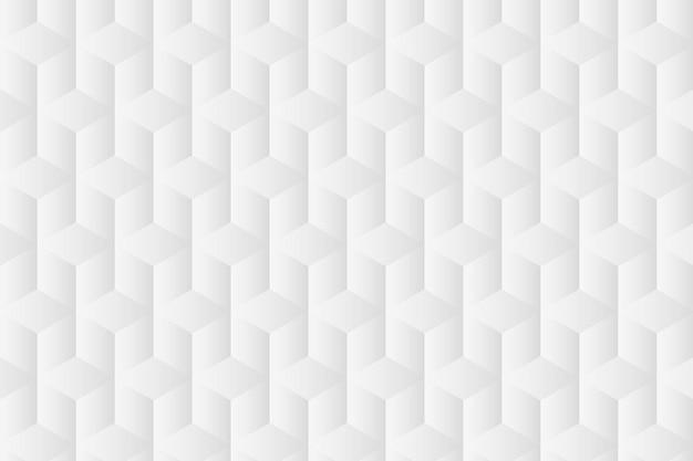 Geometrische achtergrondvector in witte kubuspatronen Gratis Vector