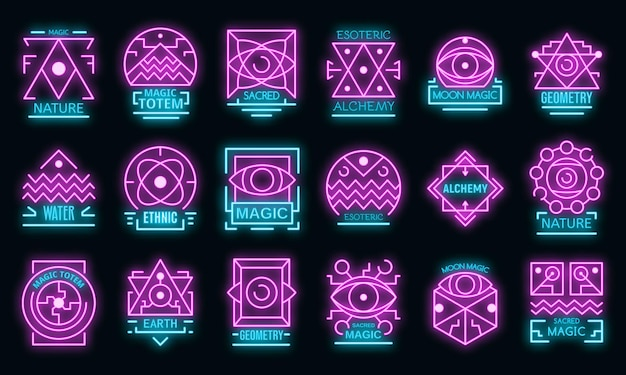 Geometrische alchemie pictogrammen instellen. overzichtsreeks geometrische alchemie vectorpictogrammen neonkleur op zwart