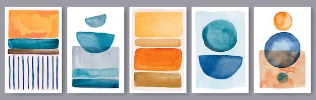 Geometrische aquarel posters hedendaagse boho print met handgeschilderde elementen vector set