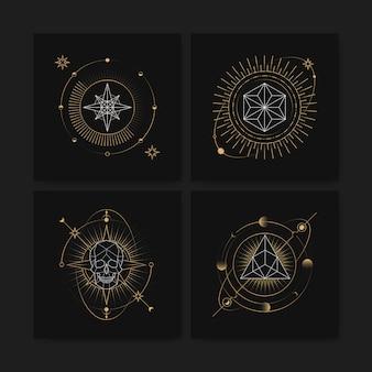 Geometrische astrologische symbolen tarotkaart