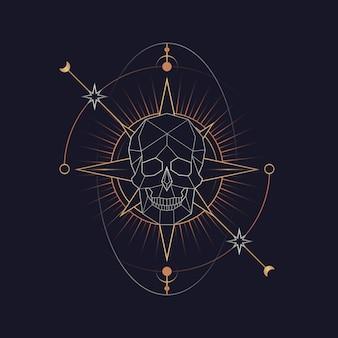 Geometrische astrologische tarotkaart van de schedel