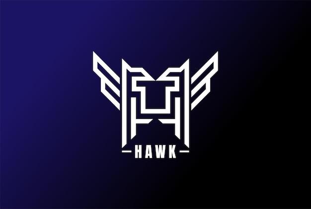 Geometrische beginletter h of hawk tiger logo design vector