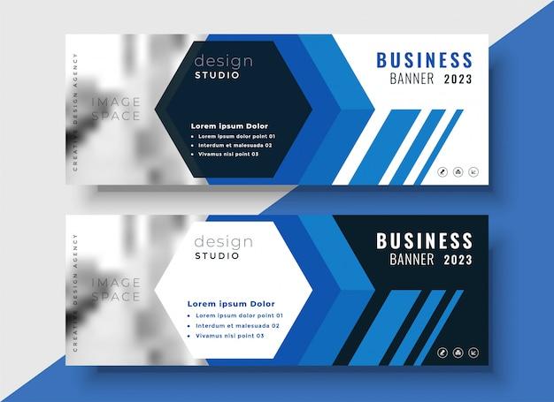 Geometrische blauwe bedrijfsbanners die met beeldruimte worden geplaatst