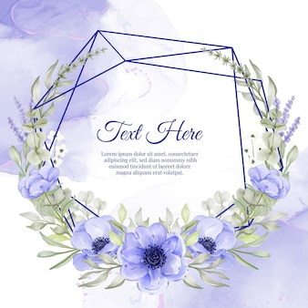 Geometrische bloem krans frame van bloem paarse anemoon