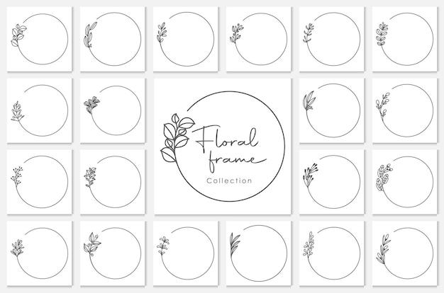 Geometrische bloemenframes, randen, huwelijkskransen, gedetailleerde decoratieve illustraties.