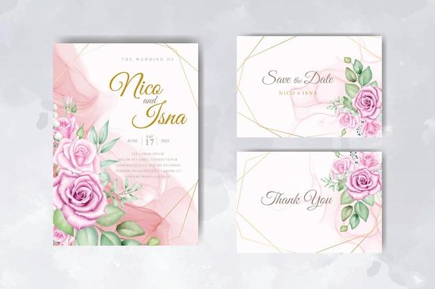 Geometrische bloemenhuwelijksuitnodiging