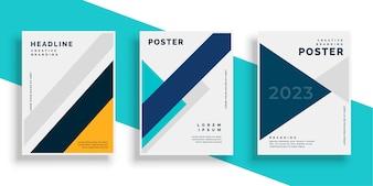 Geometrische boekomslag flyer ontwerpen instellen
