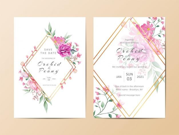 Geometrische bruiloft uitnodigingskaart sjabloon set aquarel bloemen