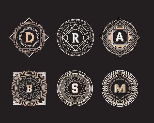 Geometrische cirkel vorm lijn badge set
