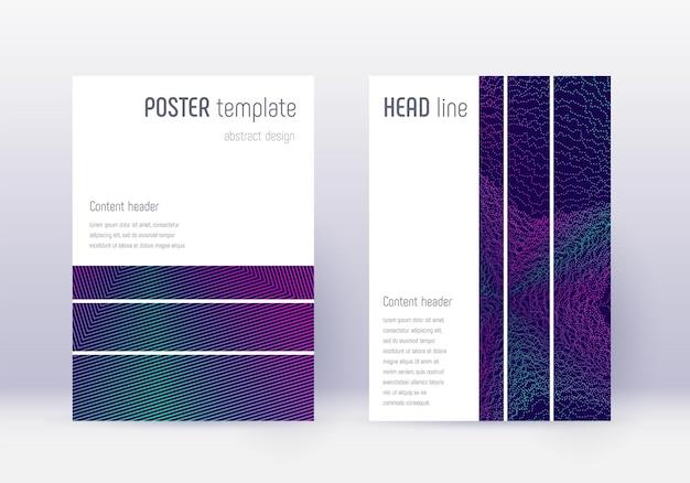 Geometrische dekking ontwerpsjabloon set. neon abstracte lijnen op donkerblauwe achtergrond. betoverend omslagontwerp. uitstekende catalogus, poster, boeksjabloon etc.
