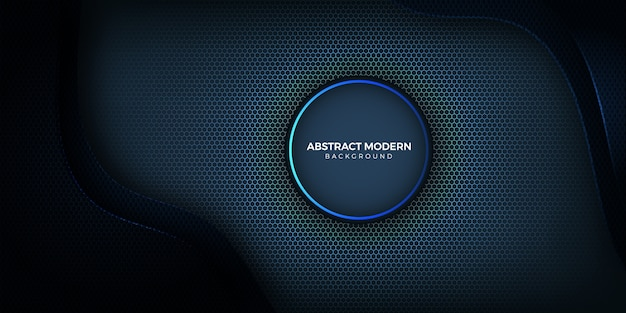 Geometrische donkere en blauwe lichte achtergrond met zeshoekige vorm