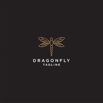 Geometrische dragonfly logo ontwerpsjabloon