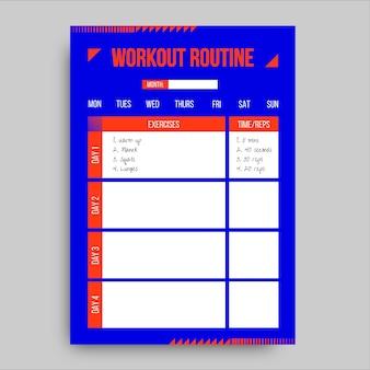 Geometrische duotoon workout sportplanner
