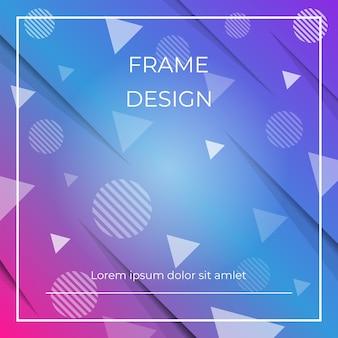 Geometrische dynamische diagonale blauwe en roze achtergrond met driehoeken en cirkelsvormen, document schaduw