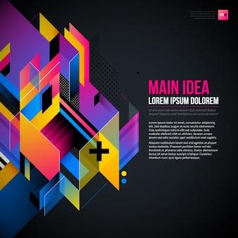 Geometrische en kleurrijke achtergrond met een abstracte stijl