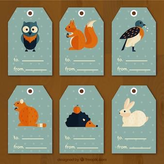 Geometrische etiketten met dieren in het bos