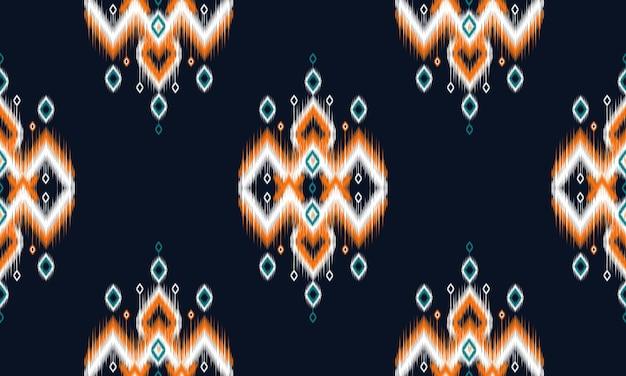 Geometrische etnische ikat patroon oosters traditioneel ontwerp voor achtergrond. Premium Vector