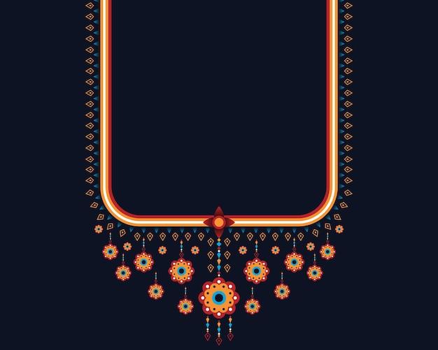 Geometrische etnische oosterse patroon ketting borduurwerk ontwerpen
