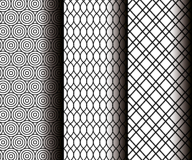 Geometrische figuren instellen in grijze naadloze patronen