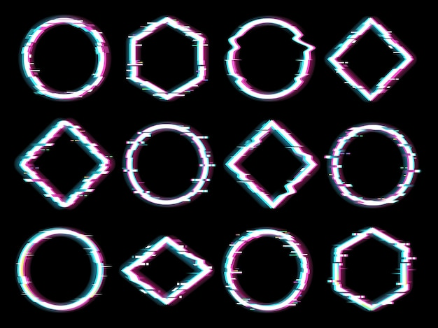 Geometrische figuren met glitch-effect.
