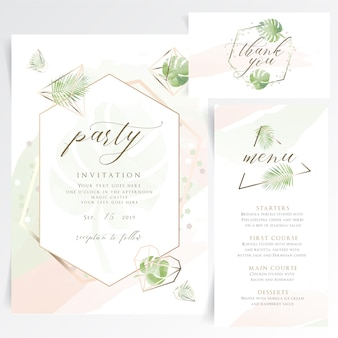 Geometrische floral partij uitnodigingskaart met tafelmenu