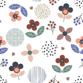 Geometrische floral t polka dot, lijn naadloze patroon