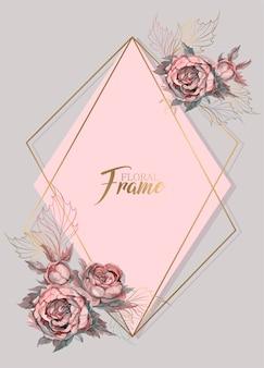 Geometrische frame bruiloft uitnodiging met aquarel bloemen