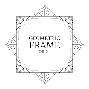 Geometrische frame met diamanten retro lijn art deco geometrie patroon trendy grens met edelstenen