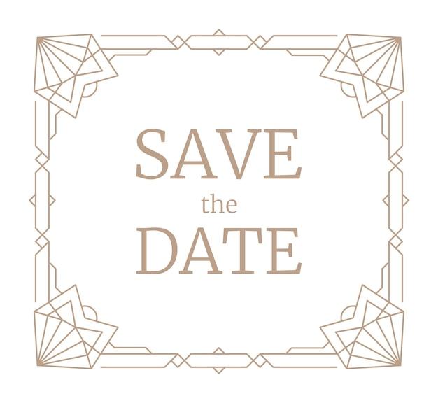 Geometrische frame retro lijn huwelijksuitnodigingart deco patroon met hartjes vintage save the date