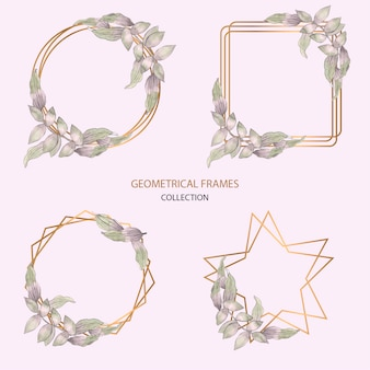 Geometrische frames-collectie in aquarel