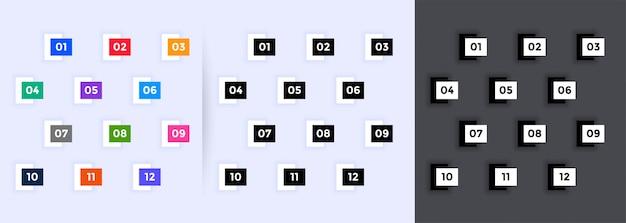 Geometrische genummerde opsommingstekens van één tot twaalf