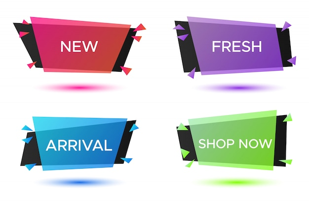 Geometrische geplaatste kentekens, kleurrijke creatieve kaders voor reclametekst