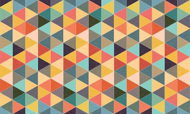 Geometrische gestructureerde driehoeken achtergrond met kleurrijke retro stijl