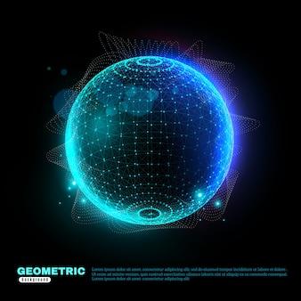 Geometrische gloeiende bol achtergrond poster