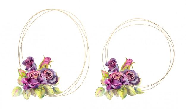 Geometrische gouden frames met roze bloemen. aquarel stijl