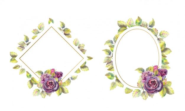 Geometrische gouden frames met roze bloemen. waterverf