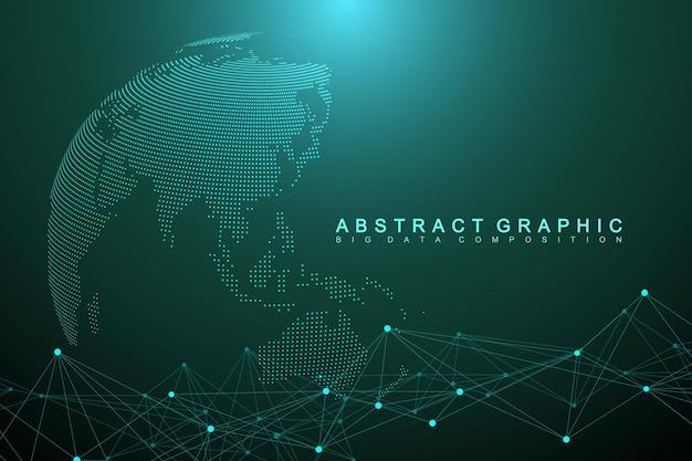 Geometrische grafische achtergrond molecuul en communicatie. big data complex met verbindingen. perspectief achtergrond. minimale reeks. digitale datavisualisatie. wetenschappelijke cybernetische vectorillustratie.