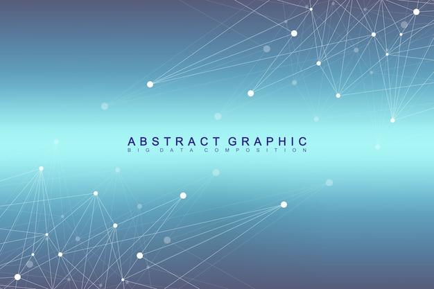 Geometrische grafische achtergrond molecuul en communicatie.
