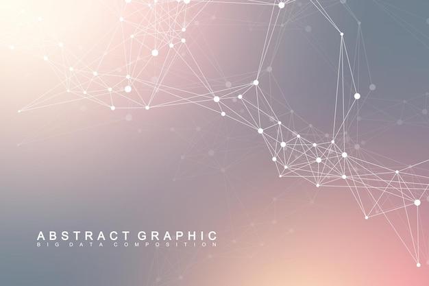 Geometrische grafische achtergrondmededeling. wereldwijde netwerkverbindingen. wireframe-complex met verbindingen. perspectief achtergrond. digitale datavisualisatie. wetenschappelijke cybernetische vector.