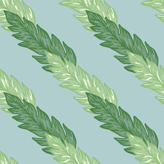 Geometrische groene bladeren naadloze patroon onlight blauwe achtergrond. mooi bloemenbehang. voor stofontwerp, textielprint, verpakking, omslag. hedendaagse vectorillustratie